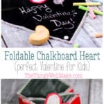 Kids will love this portable, foldable chalkboard heart. It's the perfect Valentine for your favorite little artist! How to quickly sew up a portable, foldable chalkboard heart, complete with its own homemade felt eraser. It begins as a heart, and folds into an envelope. #thethingswellmake #miy #valentinesday #valentinescrafts #craftsforkids #valentinesforkids #kidscrafts #chalkboard #chalkboardfabric #chalkboardart #valentines