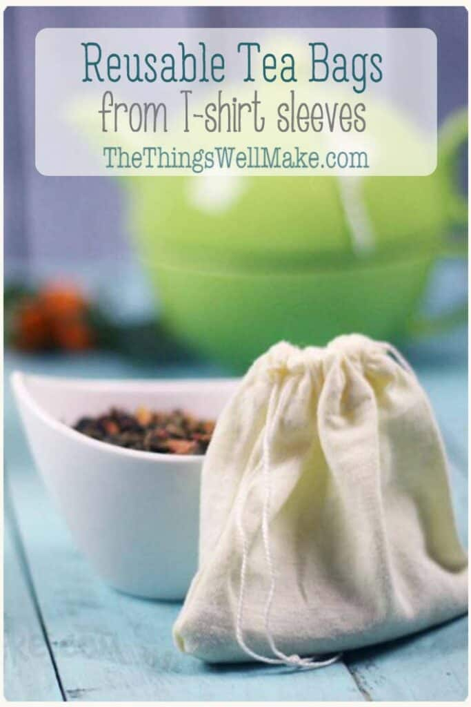 Make these easy, 5-minute DIY reusable tea bags for loose leaf teas! They're quickly made from repurposed sleeves and are the perfect use for old baby onesies and small t-shirts. #thethingswellmake #tea #easysewing #seweasy #teabags #homemadeteabags #healthytea #sustainableliving #upcycle #recycle