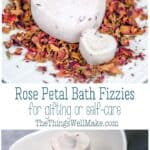Soothe your skin and relax in a luxurious bath using these homemade rose petal bath bombs (bath fizzies). They're great for gifting or much-needed self-care. #thethingswellmake #miy #bathbombs #selfcare #valentinesday #bathtimefun #bathtime #selfcaretips #relaxation #relaxdestressideas #valentinesdaycraft