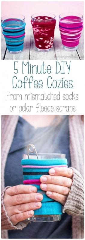 Enjoy your hot beverage without burning yourself with this easy DIY coffee cozy that can be made from a mismatched sock in around 5 minutes! (Or use polar fleece scraps or other knit items!) #thethingswellmake #miy #coffeecozy #sewsimple #diyproject #seweasy #sewingprojects #beginnersewing #coffee #teatime #nosew #upcycle #coffeesleeve