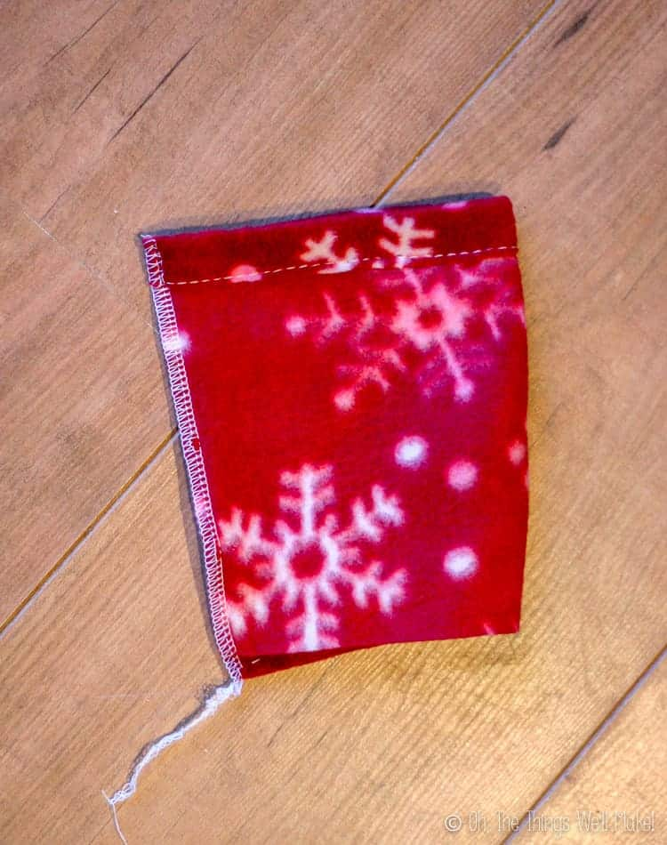 Polar feece sleeve after having the edges sewn together.