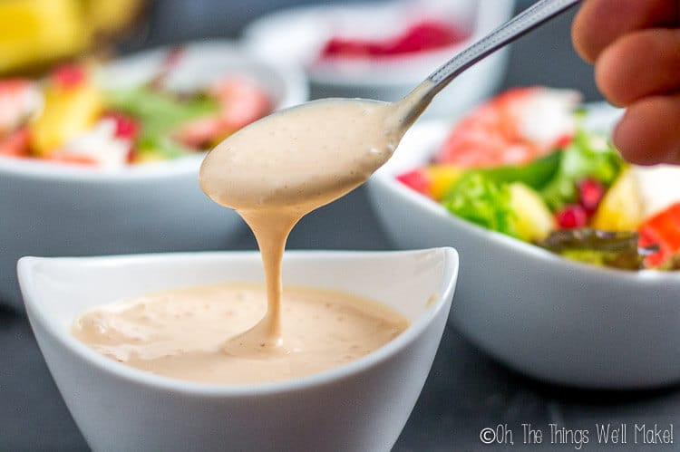 Salsa rosa, a pink cocktail sauce that is extremely popular in Spain, is creamy, sweet, and tangy. It's also commonly used as a salad dressing. #salsa #salsarosa #cocktailsauce #sauce #dressing