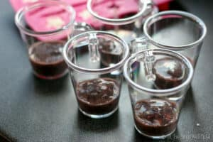 Cups with blueberry puree