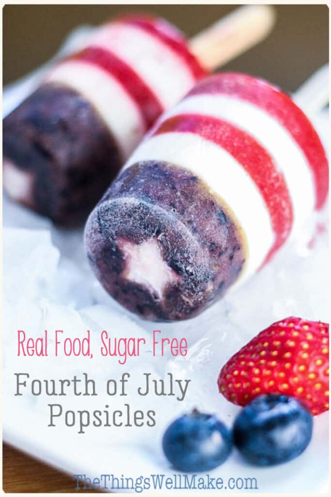 These red, white, and blue patriotic popsicles are healthy, easy to make, and perfect for celebrating the fourth of July or for serving any time you want to show off your patriotism. Plus, they're made with real food and they're refined sugar-free! #thethingswellmake #recipes #redwhiteandblue #patrioticdessert #patrioticdesserts #starsandstripes #festivefood #healthysnacks #popsicles #sugarfree #frozendessert #patrioticfood #redwhiteandbluefood #strawberries #blueberries #memorialday #july4
