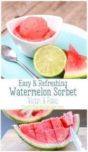 Quickly whip up this easy watermelon sorbet in under 5 minutes. Perfect for summer, this sweet, refreshing treat is actually healthy, paleo, and vegan. #thethingwellmake #watermelon #sorbet #watermelonsorbet #frozentreats #summerfood #refreshing #frozendessert #vegan #paleo #refinedsugarfree #noaddedsugar #dessertrecipes #paleorecipes #dairyfree #dairyfreerecipes #veganrecipes #sorbetrecipes #watermelonrecipes