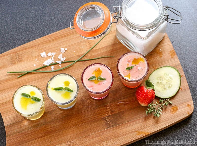 Cool and refreshing, this strawberry melon gazpacho is a fun new way to enjoy this Spanish classic soup without tomatoes.