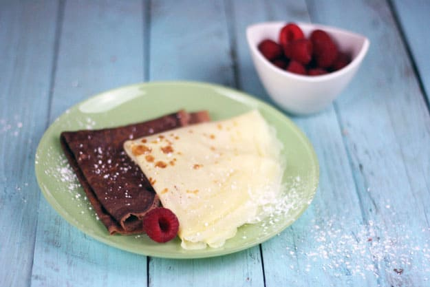 Crepes and Chocolate Crepes with Mascarpone Filling