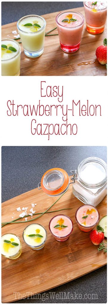 Cool and refreshing, this strawberry melon gazpacho is a fun new way to enjoy this Spanish classic soup without using any tomatoes.