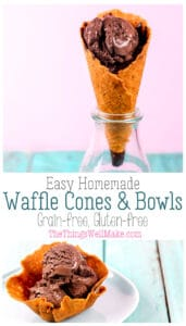 Fun and easy to make, these grain-free waffle cones and bowls are the perfect accompaniment to ice cream or frozen yogurt. They're perfect for parties and kids love being able to make them. #thethingswellmake #grainfree #glutenfree #wafflecones #waffleconerecipe #icecream #icecreamrecipes
