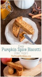 These crunchy almond based Italian cookies are perfect for dipping in coffee, chai tea, or my sweet pumpkin pie dip. They're also a grain-free, guilt-free indulgence. #thethingswellmake #miy #biscotti #pumpkinspice #pumpkinrecipes #fallrecipes #paleorecipes #grainfree #vegan #cookies #cookierecipes #paleo #veganrecipes #breakfast #dessert