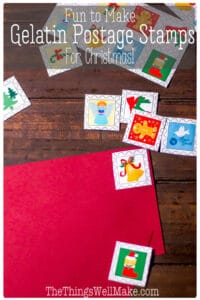 """Kids love making these holiday postage stamps using a homemade gelatin glue. They're so impressed that they can make their own lick-and-stick """"stickers""""that this is a great activity for Halloween, Christmas, Valentine's Day, or any rainy day! #Halloween #Christmas #ValentinesDay #stamps #gelatin #lickandstick"""