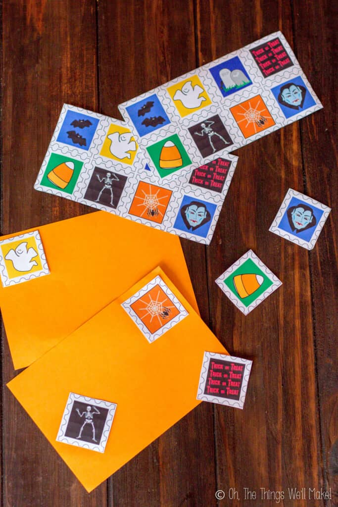 homemade Halloween postage stamps made with gelatin