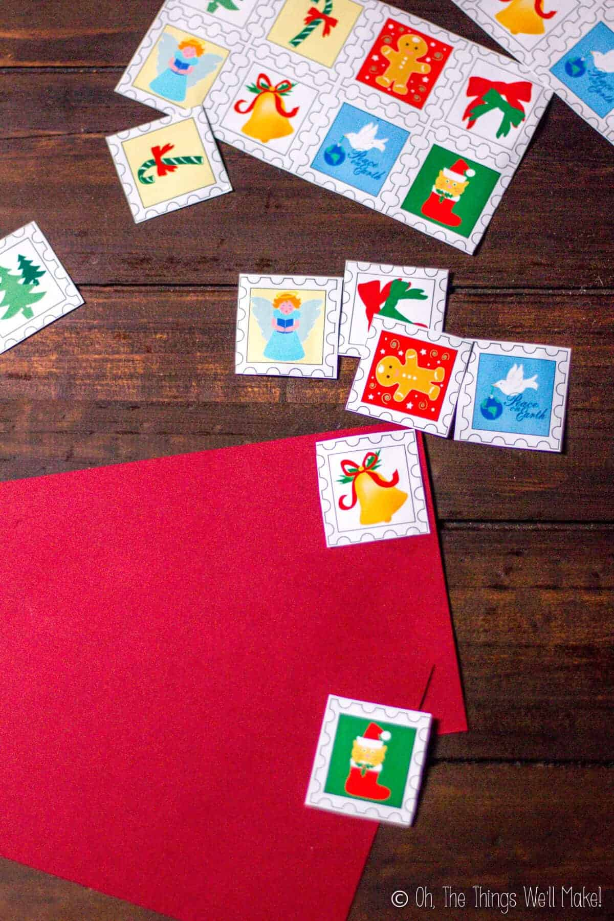 homemade Christmas postage lick-and-stick stamps