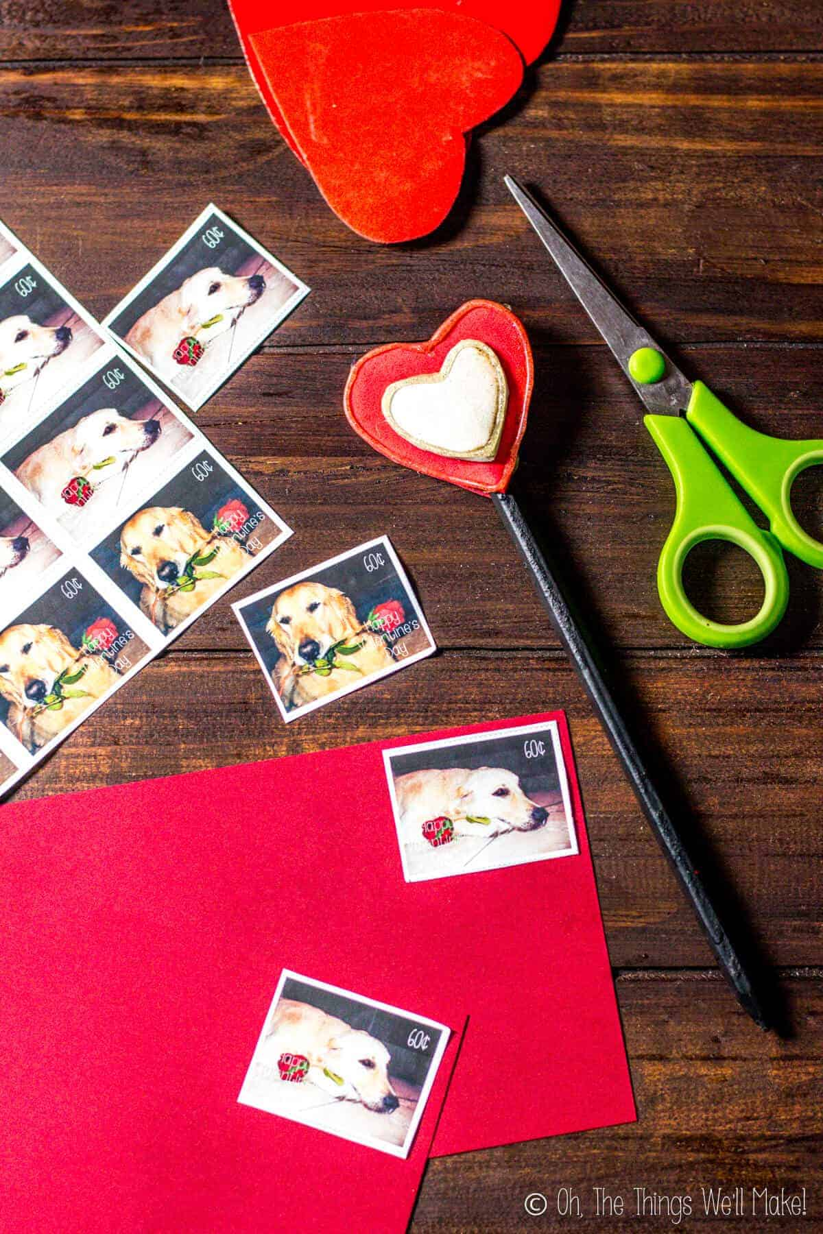 Fun Valentine's day postage stamps being stuck on valentines