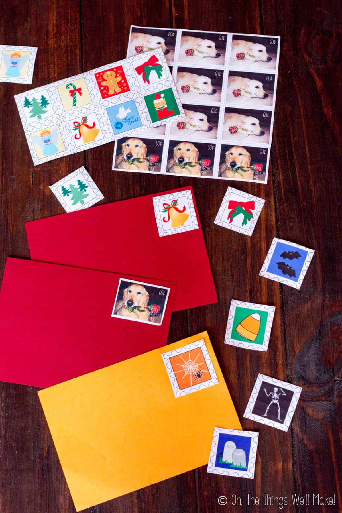 A variety of Halloween, Christmas, and Valentine's Day homemade postage stamps using gelatin