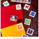 "Kids love making these holiday postage stamps using a homemade gelatin glue. They're so impressed that they can make their own lick-and-stick ""stickers"" that this is a great activity for Halloween, Christmas, Valentine's Day, or any rainy day! #Halloween #Christmas #ValentinesDay #stamps #gelatin #lickandstick"