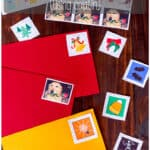 "Kids love making these holiday postage stamps using a homemade gelatin glue. They're so impressed that they can make their own lick-and-stick ""stickers"" that this is a great activity for holidays or any rainy day! Free printable stamps for Valentine's Day, Easter, Mother's Day, Halloween, and Christmas #Halloween #Christmas #ValentinesDay #Easter #mothersday #stamps #gelatin #lickandstick"