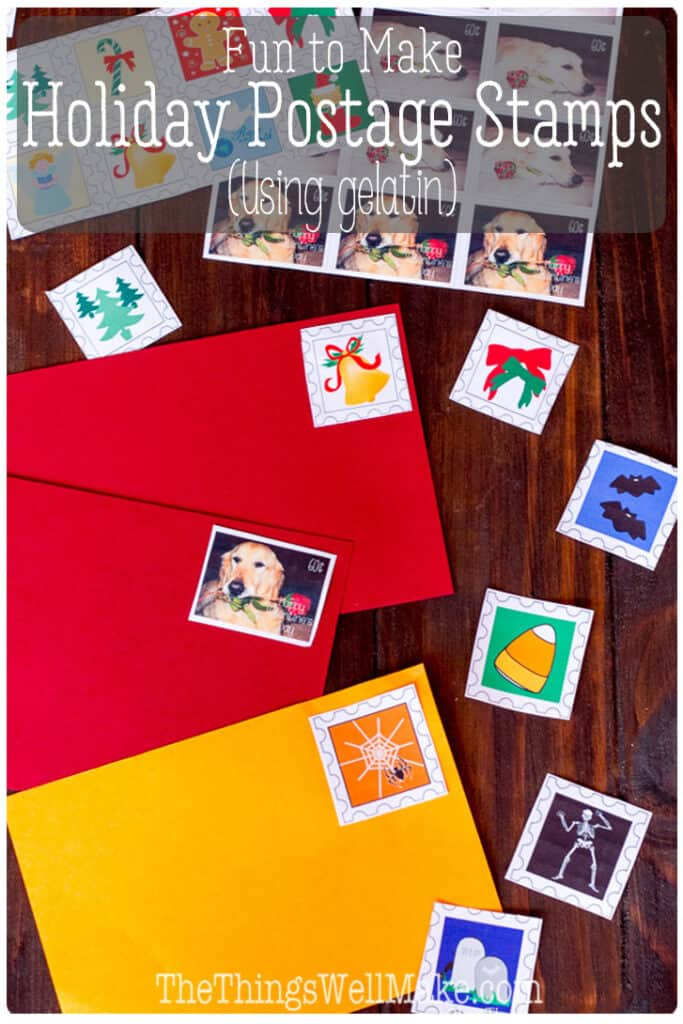 """Kids love making these holiday postage stamps using a homemade gelatin glue. They're so impressed that they can make their own lick-and-stick """"stickers""""that this is a great activity for holidays or any rainy day! Free printable stamps for Valentine's Day, Easter, Mother's Day, Halloween, and Christmas #Halloween #Christmas #ValentinesDay #Easter #mothersday #stamps #gelatin #lickandstick"""