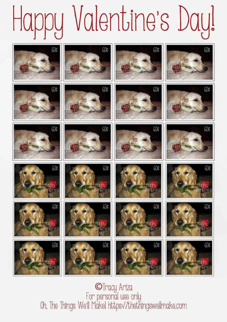 sheet of Valentine's Day stamps with golden retrievers