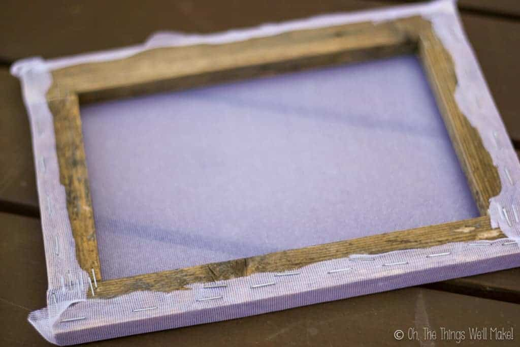 The finished frame with cloth on it.