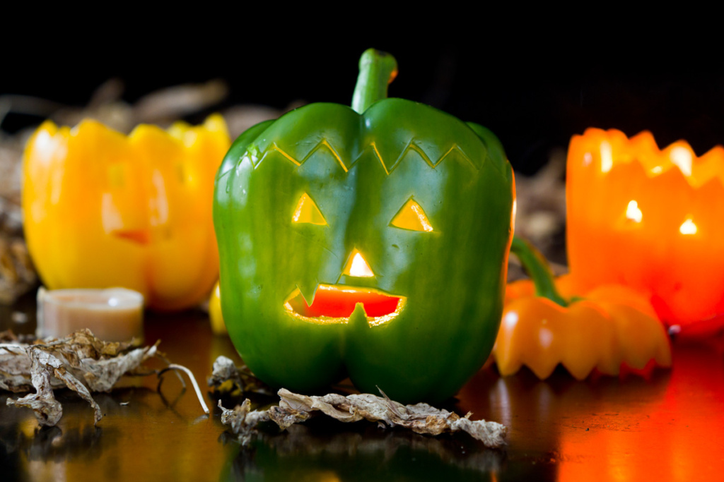 jack-o-lanterns made from bell peppers