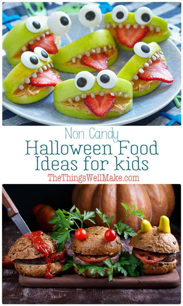 "Ditch the processed candy this Halloween with these quick-and-easy, low-sugar Halloween inspired food ideas for kids. See how easy it is to make food fun for Halloween, with everything from ghost and mummy pizzas and ""bloody"" burgers to spiderweb soup. #thethingswellmake #halloweenfood #halloweenrecipes #halloweenmeals #halloweensnacksforkids #halloweenfruit #halloweenideas #halloweenkids #miy #bentoboxforkids"