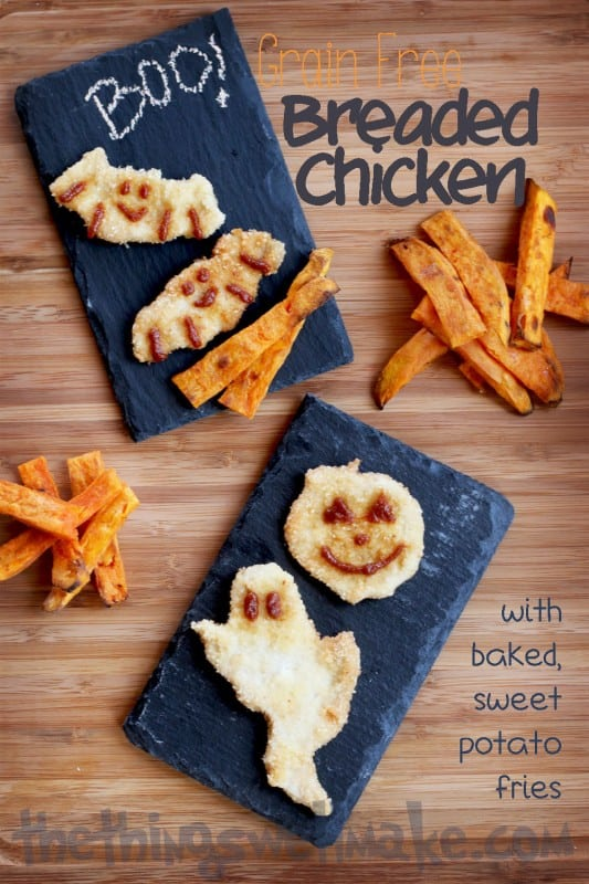 Grain Free Breaded Chicken with Baked Sweet Potato Fries - Oh The Things Well Make!