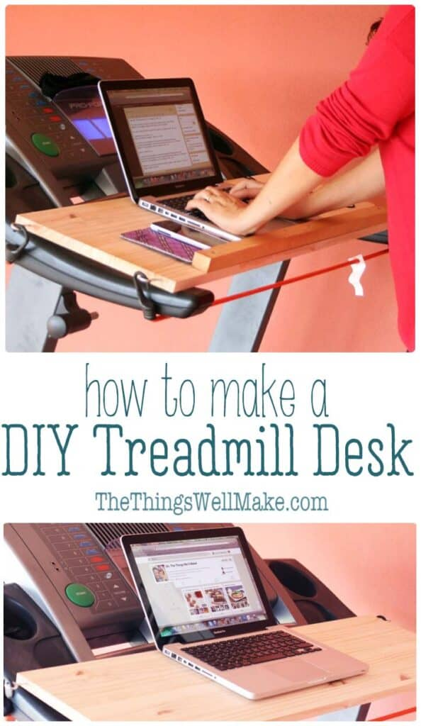 Get in those extra steps while working on your computer or watching your favorite videos using this removable, easy treadmill desk that you can probably make in under an hour! Learn how to make an easy DIY treadmill desk using simple materials that you may already have at home. This desk can be quickly installed and removed. #thethingswellmake #diy #treadmilldesk #standingdesk