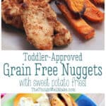 """Learn how to make grain-free and """"regular"""" breaded chicken nuggets with baked sweet potato fries. It's one of my son's favorite meals (and adults love it too)! I also show you how to decorate them for Halloween. #thethingswellmake #grainfree #chickennuggets #toddlermeals #kidsmeals #realfoodkids #paleo #glutenfree #halloweenfood #halloweenrecipes #halloweenkids"""
