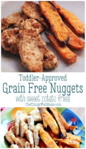 "Learn how to make grain-free and ""regular"" breaded chicken nuggets with baked sweet potato fries. It's one of my son's favorite meals (and adults love it too)! I also show you how to decorate them for Halloween. #thethingswellmake #grainfree #chickennuggets #toddlermeals #kidsmeals #realfoodkids #paleo #glutenfree #halloweenfood #halloweenrecipes #halloweenkids"