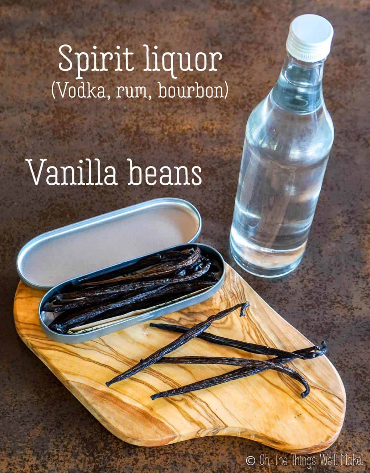 Ingredients for a homemade vanilla extract