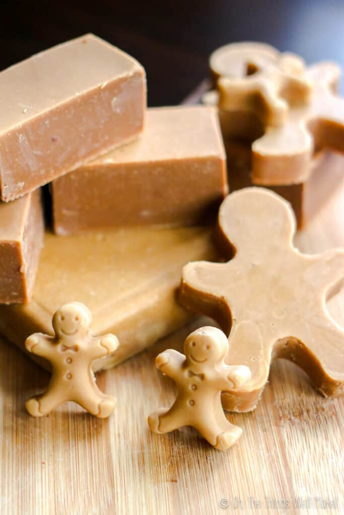 a groups of homemade gingerbread soaps in different shapes