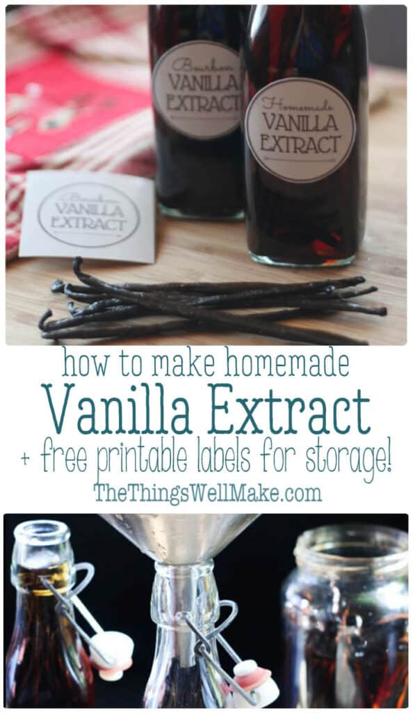 Save money and ensure that you have the highest quality ingredients by making your own vanilla extract. It's super easy to make and makes a great gift. #vanilla #homemade #vanillaextract #thethingswellmake #miy