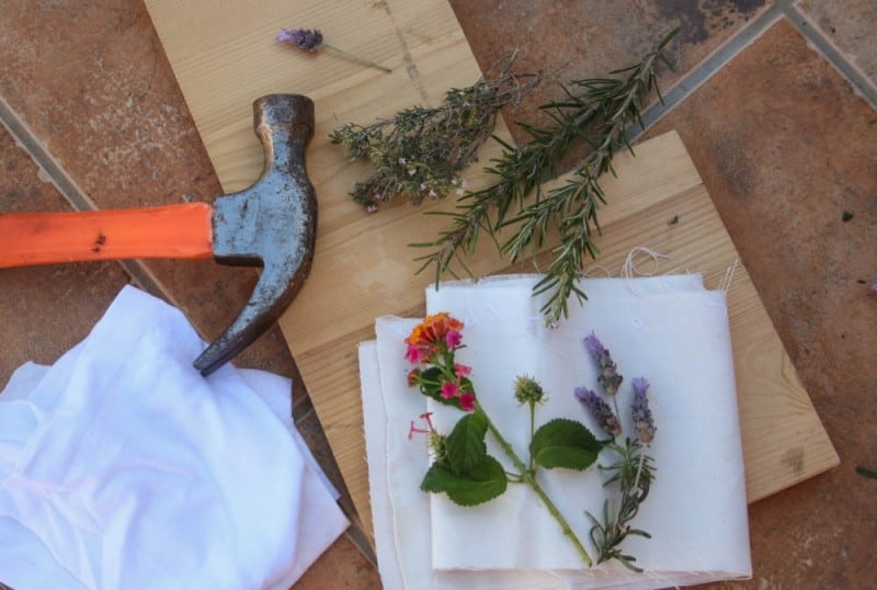 Overhead view of a hammer, flowers, and cloth
