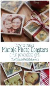 Learn how to make DIY marble photo coasters for yourself, or as a personalized, homemade Christmas present. Easy and fun! #thethingswellmake #coasters #photography #diygift #giftidea #easygiftideas