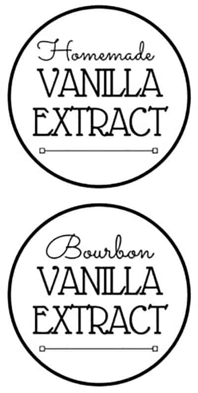 """2 circular labels, one that says """"homemade vanilla extract"""" and the other with """"bourbon vanilla extract"""""""