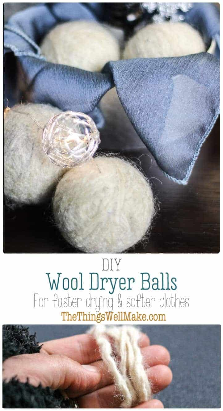 DIY wool dryer balls are easy to make and are a simple, ecological way to soften clothes and reduce dryer time and static cling. #thethingswellmake #miy #wool #wooldryerballs #dryerballs #laundry #greenlaundry #greenlaundrytips #fabricsoftener #greencleaningtips #greencleaning #naturalcleaning #naturalcleaningproducts #naturalwashing #fabricsoftener