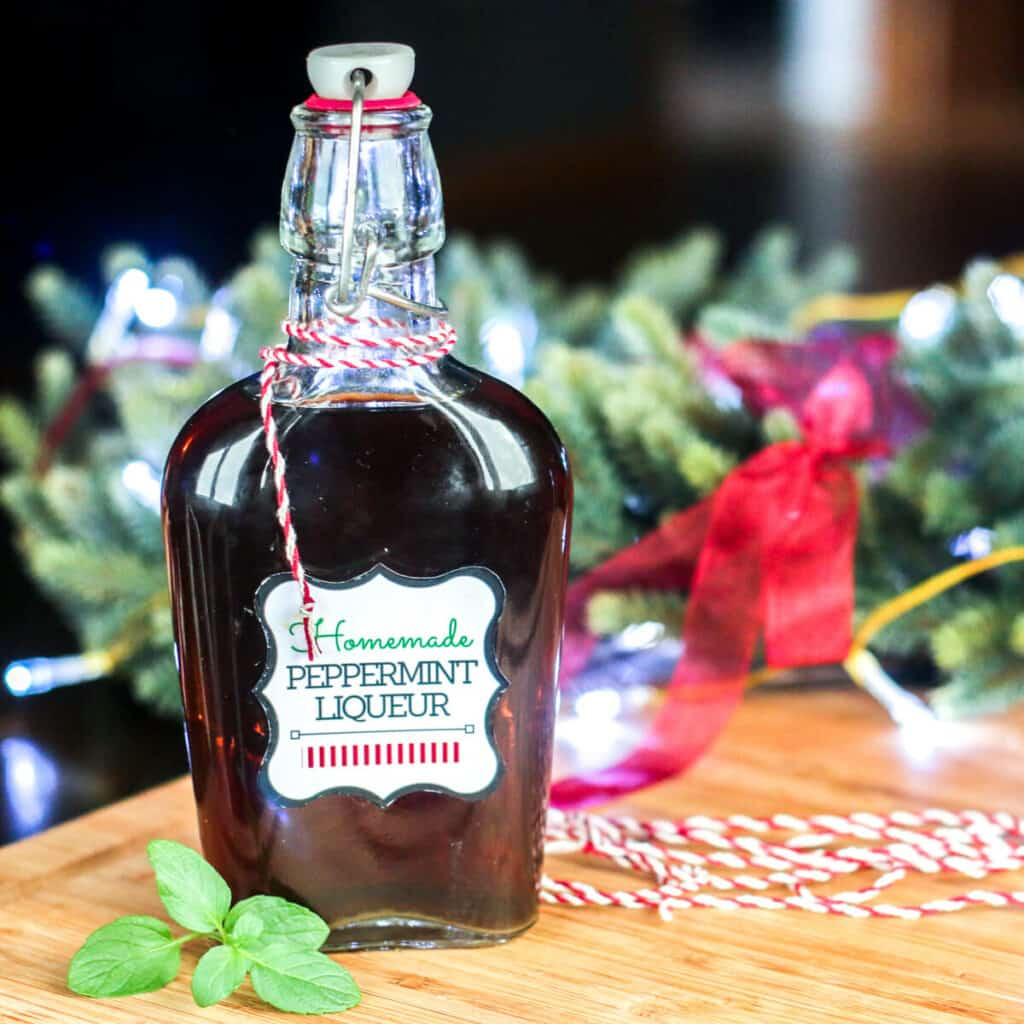 A bottle of homemade peppermint liqueur wrapped in bakers twine with a sprig of fresh mint.