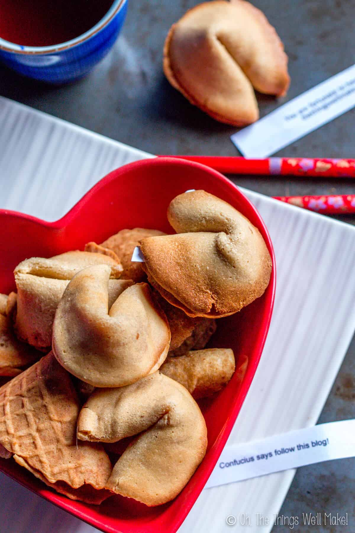 "Overhead view of several homemade fortune cookies in a heart-shaped red bowl. One has a fortune that says ""Confucius says follow this blog."""