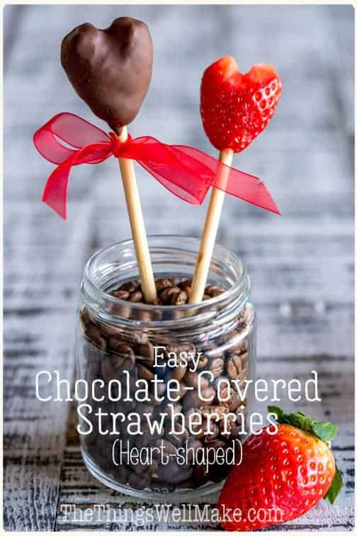 Better than store-bought candy, these heart-shaped chocolate covered strawberries are perfect for gifting on Valentine's day, but you can enjoy them year round. #thethingswellmake #miy #recipes #valentinesday #valentinesdayrecipes #strawberries #strawberryrecipes #chocolaterecipes #chocolate