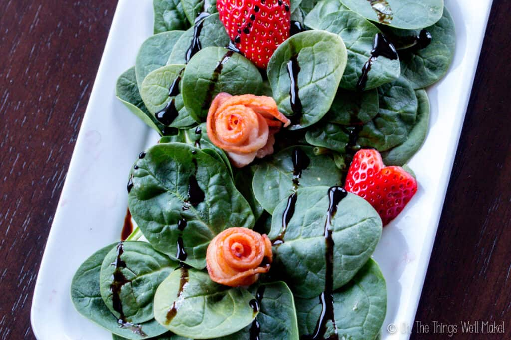 A Valentine's Day salad drizzled with balsamic vinegar