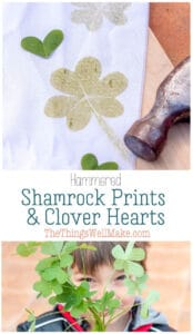 A fun St. Patrick's Day activity for kids or adults, these hammered shamrock prints and clover hearts are a festive way to decorate cloth for all sorts of holiday projects. #thethingswellmake #miy #stpatricksday #shamrocks #stpatricksdaydecor #stpattysdayideas #stpatricksdaycrafts #artsandcrafts #craftsforkids #clothprojects #naturalcrafts #diynatural #naturecrafts