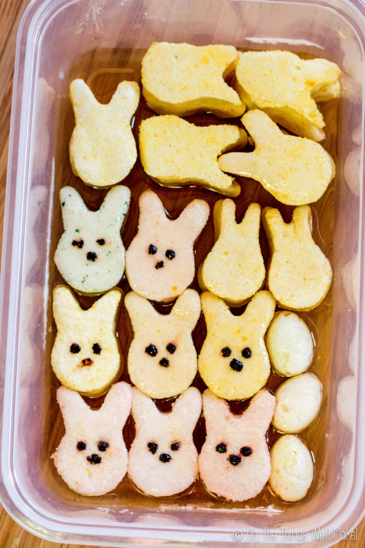 container filled with homemade peeps whose sugar has melted into a syrup