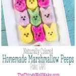 Avoid the corn syrup and artificial colors when you make these healthier homemade marshmallow peeps. It's a fun Easter activity that isn't as difficult as you might think. #Easter #marshmallow #peeps #paleo #GAPS