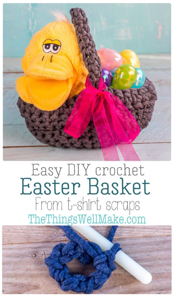 Upcycle those old t-shirts (or use store-bought t-short yarn) into a cute, easy DIY crochet Easter basket. Even a beginner can make this in only a couple of hours. #thethingswellmake #miy #crochetprojects #Easter #crochet #basket #Easterbasket #Eastercrafts #upcycle