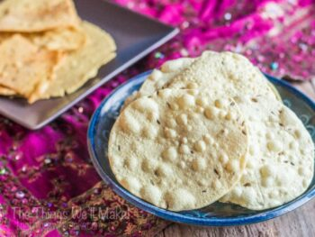 Making your own papadums is simple if you have urid flour. I made homemade papadums from scratch from whole urids and made lentil crackers in the same way.