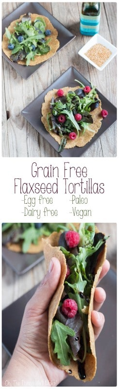 It is possible to make a pliable paleo tortilla or wrap without grains, starches, or even eggs, using flaxseeds. I love these for making salad wraps.