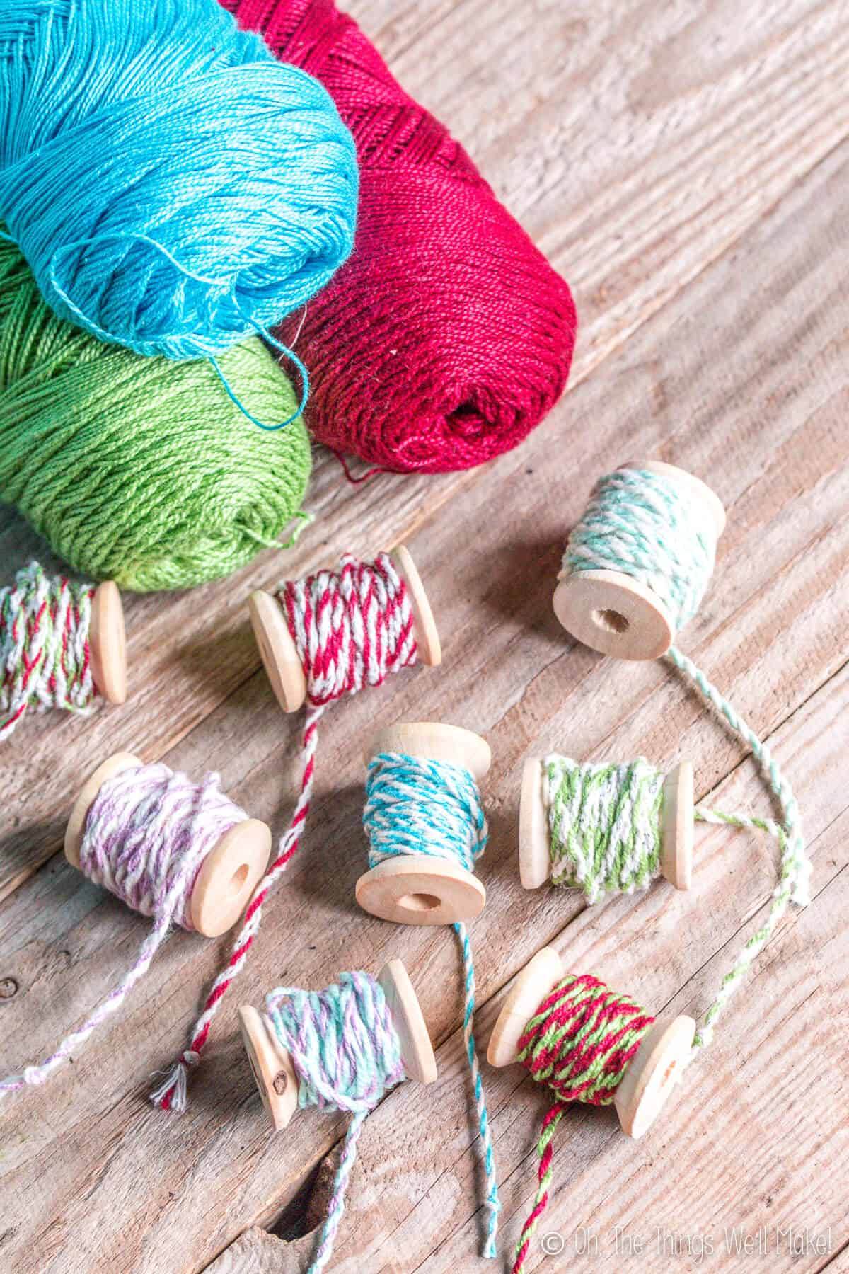 Make your own professional looking DIY bakers twine in custom colors quickly and easily using cotton thread or embroidery floss.