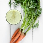 Green Smoothie with Carrot Tops, Pear, and Orange