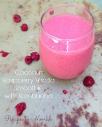 Coconut Raspberry Vanilla Smoothie with Kombucha